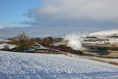 46115 - Clapham (Oli G 15) Tags: 46115 scots guardsman steam train loco locomotive lms stanier tender smoke exhaust clag maroon mk1 coaches clapham north yorkshire snow sun hills sunshine landscape tree wcrc west coast rail tour 2019