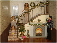 24.advent day - Merry Christmas! (Mary (Mária)) Tags: advent calendar doll december diorama scene winter barbie dollphotography christmas christmastree fireplace stairs stairway gown dress handmade fashion mattel dollcollector dollphotographer ornaments toy marykorcek