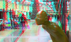 Kerst in de Koopgoot Rotterdam 3D (wim hoppenbrouwers) Tags: koopgoot rotterdam 3d anaglyph stereo redcyan fujiw2 street shops straat city stad beursplein kerstboom smile