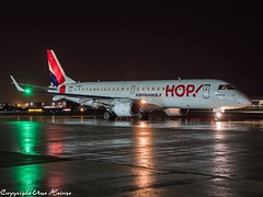 HOP! F-HBLK HAJ at Night (U. Heinze) Tags: aircraft airlines airways airplane planespotting plane flugzeug haj hannoverlangenhagenairporthaj eddv olympus omd em1markii 12100mm