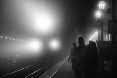 Christmas Eve Noir (Christopher J May) Tags: bw bnw blackandwhite christmaseve elmhurst illinois metra monochrome nikonafnikkor80200mmf28d nikond800 railroad station train uprr unionpacific depot noir