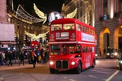 Brigit's Christmas Ride (crashcalloway) Tags: rml2546 rml routemasterlong routemaster bus londonbus doubledecker aec halfcab london piccadillycircus christmas xmas lights christmaslights brigitsafternoontea londonwestend westend afterdark nightphotography night westminster