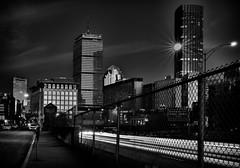 Hancock, Prudential and-One-Dalton - Boston (Josh Getman) Tags: boston skyline christmas bnw bw blackandwhite monochrome longexposure light streak city massachusetts nikon d610 tamron 2470mm sunset