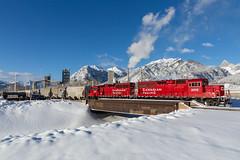 Exshaw switcher (Matthew Hicks Railway Photography) Tags: canadianpacific cprail railway train exshaw alberta canada winter bridge calgary canmore railsab gp20ceco