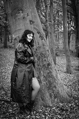 in the woods (gotan-da) Tags: model modelo female femme frau beauty natural brunette sensual makeup eyes lips girl woman portrait ritratto retrato belle bellezza donna blackwhite schwarzweiss noiretblanc blackandwhite bw monochrome