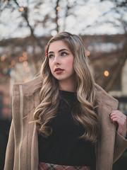 Merry Christmas everyone (Vincent F Tsai) Tags: portrait fashion girl model winter holiday christmas cold outside blonde cute pretty lights natural coat curls young bokeh dof beautiful panasonic lumixgx8 leicadgnocticron425mmf12