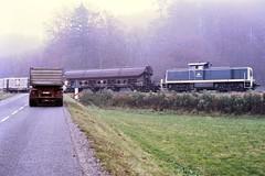 Roßberg, 290 337, Bahnübergangsunfall, irgendwann in den 1980ern (Thomas Reincke) Tags: rosberg bundesbahn 290 v90 bahnübergang unfall rosbergbahn