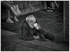 LIFE STINKS (MEL BROOKS) (NorbertPeter) Tags: man street people outdoor city urban cologne köln germany smoker homeless poverty streetphotography streetportrait portrait monochrome blackandwhite bw panasonic lumix gx8