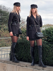 Charming blonde girl in mini skirt and otk boots (pivapao's citylife flavors) Tags: paris france trocadero girl beauties stitched