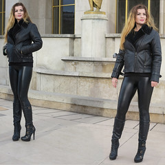 Blonde girl posing with leggins, boots and jacket in black leather (pivapao's citylife flavors) Tags: paris france trocadero girl beauties fashion stitched portrait glamour square