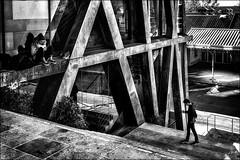 Petite promenade entre amis... / Little walk with a friend... (vedebe) Tags: aixenprovence ville city rue street urbain urban architecture escaliers humain human noiretblanc netb nb bw monochrome téléphone tel stairs