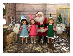 Merry Christmas! (Foxy Belle) Tags: santa christmas wood eve animal barn vintage scrapbook paper reindeer wooden team doll tiny betsy 16 hay claus caribou diorama dollhouse mccall minaiture playscale
