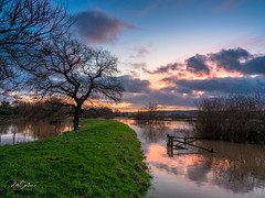 River Flood. Sunset at Rackham Bridge (Trojan Wonder) Tags: water river flood bridge plains arun