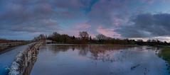 Sunset at Rackham Bridge (Trojan Wonder) Tags: water river flood bridge plains arun