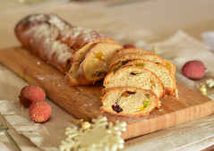 Homemade stollen with dried mango, cranberries, pistachios, almonds, marzipan,... (gamze avci) Tags: holiday bread tradition breakfast morning photography food weihnachten baking stollen christmas