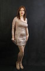 Goldy (Joanne (Hay Llamas!)) Tags: transgender transwoman tg brunette tgirl cute uk brit british britgirl gold dress asymmetric next