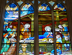 Nativity Scene (Sandra Leidholdt) Tags: nativity babyjesus birthofchrist window stainedglasswindows church christian christianity sandraleidholdt france churchofsaintjohnthebaptist europe french stjeandeluz jesus