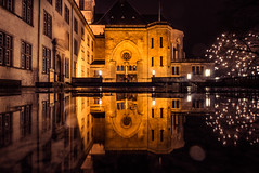 Reflections in a rainy night (pratikypatil) Tags: luxembourg notre dame notredame canon eos 600d architecture history christmas xmas nightmode long exposure landscape europe winter flickr