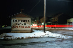 (patrickjoust) Tags: fujica gw690 cinestill 800t 6x9 medium format c41 color negative film 90mm f35 fujinon lens rangefinder tungsten balanced cable release tripod long exposure night after dark manual focus analog mechanical patrick joust patrickjoust coal region schuylkill county pa pennsylvania usa us united states north america estados unidos small town snow coaldale sign hand painted house home car light streak stream everybodysgoalisminemorecoal