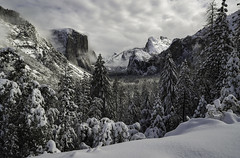 Fresh Yosemite. Merry Christmas Everyone! (Omnitrigger) Tags: snow yosemite yosemitenationalpark tunnelview clearingstorm landscape nature outside cold freshsnow pwder light clouds elcapitan halfdome yosemitevalley