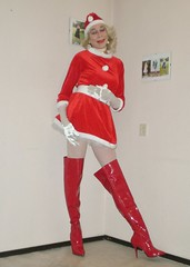 Christmas 2019. (sabine57) Tags: crossdressing drag tv highheels boots cd tgirl transgender tranny transvestite crossdresser crossdress travestie transvestism otkboots overkneeboots hat belt dress tights gloves pantyhose petticoat fishnettights longgloves fishnetpantyhose choker