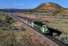 Green leader on the Chief (Moffat Road) Tags: amtrak southwestchief 3 passengertrain emd sd60m burlingtonnorthern bn 9276 elephantstyle train railroad locomotive lamy newmexico nm