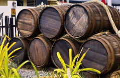 Barrels (*Millie*) Tags: barrels wood leaves plants outdoor texture rope gravel canoneosrebelt6i ef50mmf18stm milliecruz weathered rotten rust