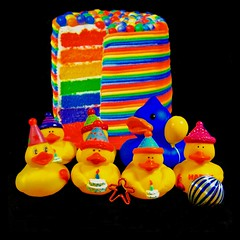 cheerful rainbow cake and HB duckies1* (muffett68 ☺ heidi ☺) Tags: happybirthday duckies ducky rainbow cake 175365 adad aduckaday day155 saturated colors