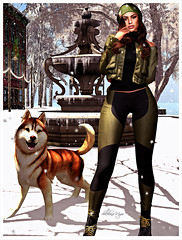 495 winter day (dolceluna_myoo Photographer) Tags: doux secondlife sl opted bloggers winter dog husky snow white color pants sweater jacket beanie green cherisvilee digitalart image art artistic photo