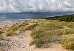 Baltc Sea in Latvia (Tom Luck) Tags: europe holiday beach water nature rain landscape sand coast latvia