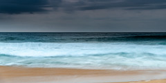 Rain Clouds and Early Morning Seascape (Merrillie) Tags: wamberalbeach sand nature water surf wamberal newsouthwales sea nsw beach ocean coastal sky white daybreak landscape cloudy australia clouds earlymorning rainclouds blue panoramic sunrise panorama centralcoast morning waves dawn seascape waterscape coast outdoors seaside