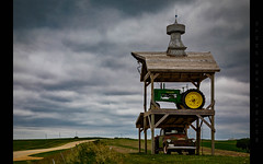 We Built this Country (Whitney Lake) Tags: tractor monument barn truck marker johndeere rural landscape farm landmark iowa farmland