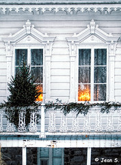 ... (Jean S..) Tags: windows balcony house tree lights wood white green