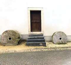 Ermitage Arlesheim (Rosmarie Voegtli) Tags: inexplore ermitage ermitagearlesheim arlesheim building architecture stones circles holes facade stairs door morningwalk wall minimal square iphone