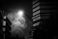 Peu importe le nombre de jours, d'années, je t'attendrai. Le brouillard qui nous a séparés finira bien par s'estomper. Le brouillard. (LACPIXEL) Tags: brouillard niebla fog mist nuit noche night lampadaire farol streetlight panneau roadsign sign cartel street rue calle sony flickr lacpixel