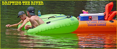 Boys Drifting the River with Some Much Needed Supplies ... (Davey Z(2)) Tags: guys drifting river with required supplies boy teens young raft floatation hats cooler water summer fun cool float swim rafting kids drift calm boys tube pro carrier talking orange green