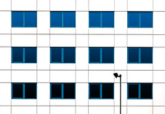 Serenade in Blue (HWHawerkamp) Tags: groningen nl architecture building facade windows blue abstract graphics travel lamps