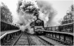 Creating a Storm (photofitzp) Tags: dukeofgloucester 71000 cvr churnetvalleyrailway rain railway standardclass 8p bw blackandwhite power steam smoke riddles