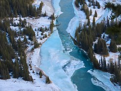Getaway miscellany - The icy Bow River from Tunnel Mountain (benlarhome) Tags: canada banff canmore lakelouise