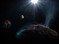 From far away (Eifeltopia) Tags: plaster diy asteroid 2000ch59 garage lightpainting creative longexposure modelling modellbau diorama nearearthobject single flames danger space heat handpainted crater moon earth planet sun scenario closetotheearth flyby cosmic