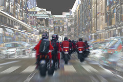 Magical Christmas Time (Le.Patou) Tags: lesud bouchesdurhône marseille psp noël fz1000 city town cityscape cityview montage photomontage jsslll trick joke galéjade tall tale xmas christmas fairy festive bike biker motorbike ride santa street streetscene abstract