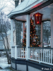 ... (Jean S..) Tags: xmas balcony lights white snow winter outdoors house