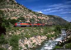 Amid the Roar of the Price River (jamesbelmont) Tags: utahrailway drgw pricecanyon utah nolan emd sd40 coal unittrain priceriver train railroad railway locomotive