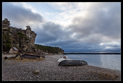 Sigsarve Beach (J. Pelz) Tags: beach landscape nature sky sweden fishingboat clouds gotland shore lärbro gotlandcounty