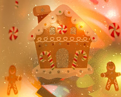 Gingerbread House (Illuminated Bottle) (shottwokill) Tags: christmas holiday illuminatedbottle sigma gingerbread gingerbreadhouse nikon d800 candycanes snow colorful