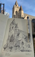 St Mark United Methodist Atlanta, Georgia (schunky_monkey) Tags: peachtreestreet georgia g atlanta illustration art drawing draw sketchbook sketching sketch fountainpen penandink ink pen landmark tower building religious religion architecture church stmarkunitedmethodist