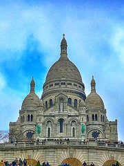 Basilique Sacré-Coeur - Paris - France - Exterior (Onasill ~ Bill Badzo - New Format) Tags: basilique sacrécoeur paris france historic church basilica sacred heart mount martyrs montmartre roman catholic rc religion style architecture byzantine romanesque landmark tourist travel tours walking statute hill onasill nrhp historical people sky building park interior altar ceiling mural window wall stonework arch