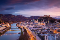 Salzburg. (Rudi1976) Tags: salzburg austria cityscape architecture cathedral church sky skyline mountainrange salzachriver riverside street tower city urbanscene town historicalbuilding 2019 europeanalps evening twilight europe buildingexterior oldtown scenics history landmark traveldestination tourism unesco outdoors downtown travel landscape urban view historic reflection vibrant bright day sunset winter
