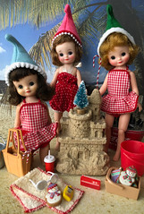 Off duty elves (Foxy Belle) Tags: doll beach vintage betsy mccall vacation christmas elves elf bathing suit sand diorama 16 playscale miniature sandcastle