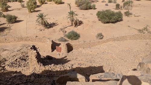 Mauritanie 2019 - Ruines partiellement restaurées du ksour de Ouadane (une des portes d'accès depuis l'oued)